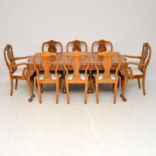Queen Anne Style Burr Walnut Dining Table & 8 Chairs c.1930 (1 of 14)