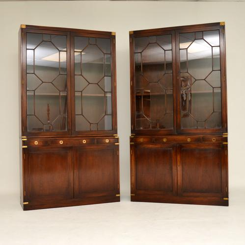 Pair of Antique Military Campaign Style Mahogany Bookcase (1 of 10)