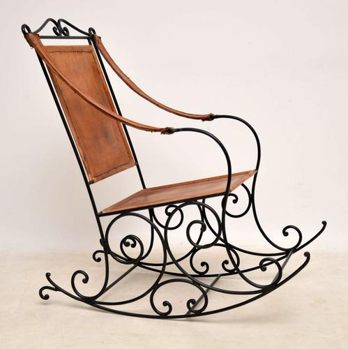 Wrought Iron & Leather Rocking Chair (1 of 12)