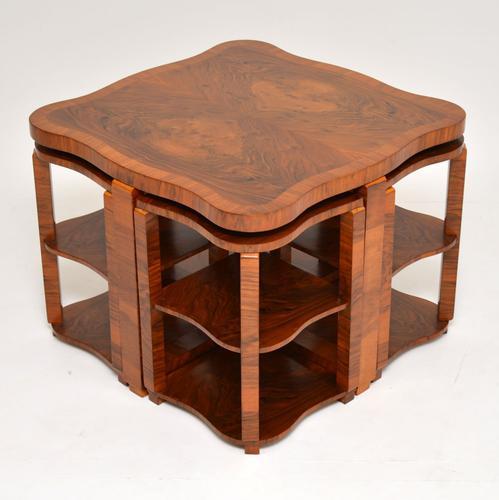 1920s Art Deco Walnut Nesting Coffee Table (1 of 10)