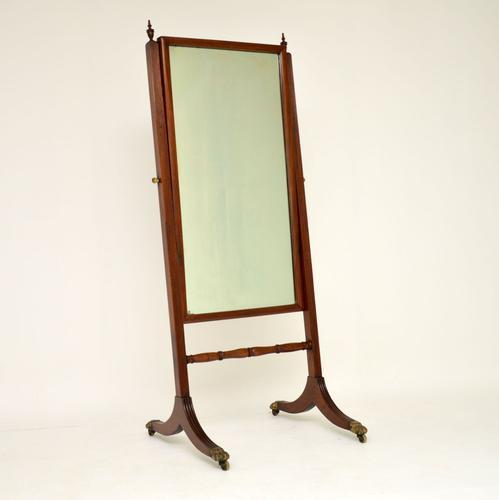 Antique Regency Mahogany Cheval Mirror (1 of 12)