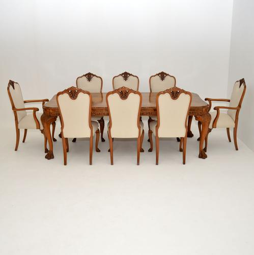 Antique Carved Walnut Queen Anne Dining Table & 8 Chairs (1 of 14)