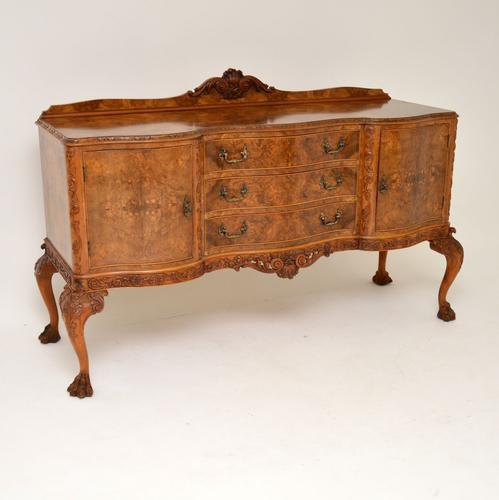 Antique Queen Anne Burr Walnut Sideboard (1 of 15)