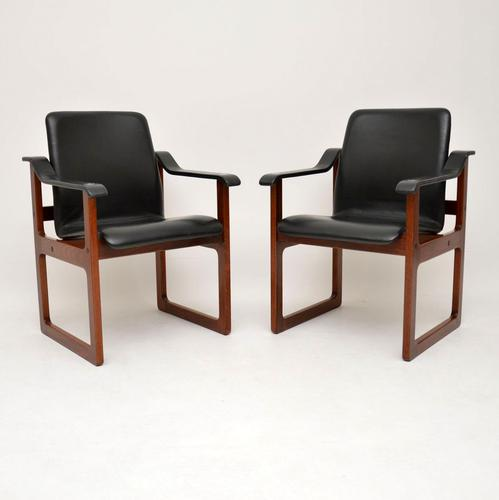 Pair of Vintage Danish Rosewood & Leather Armchairs (1 of 12)