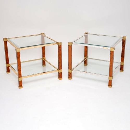 1970s Pair of Vintage French Walnut & Glass Side Tables (1 of 11)