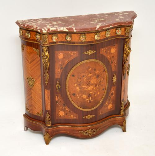 French Inlaid Marquetry Marble Top Cabinet (1 of 12)