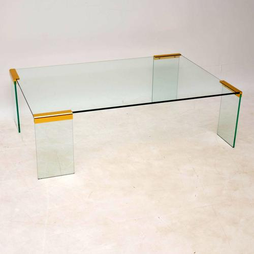 1970s Vintage Italian Glass & Brass Coffee Table by Gallotti & Radice (1 of 12)