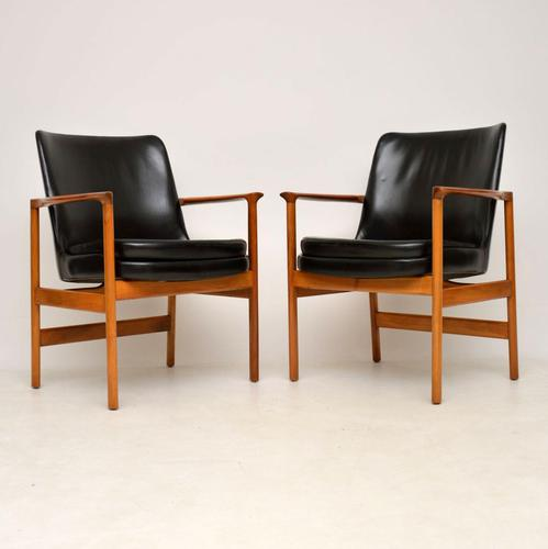 1960s Pair of Leather & Walnut Armchairs by IB Kofod Larsen (1 of 12)