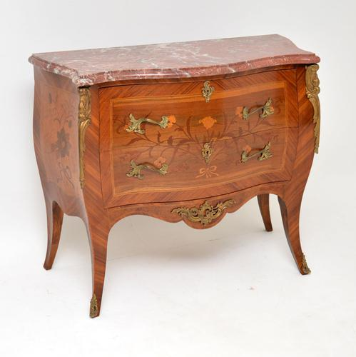 Antique French Inlaid Marquetry Marble Top Bombe Chest (1 of 12)