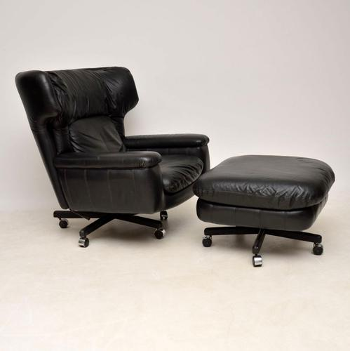 1960s Vintage Leather Reclining Armchair & Stool (1 of 12)