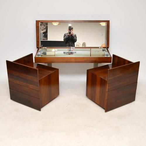 1970s Vintage Walnut & Chrome Dressing Table & Chests (1 of 15)