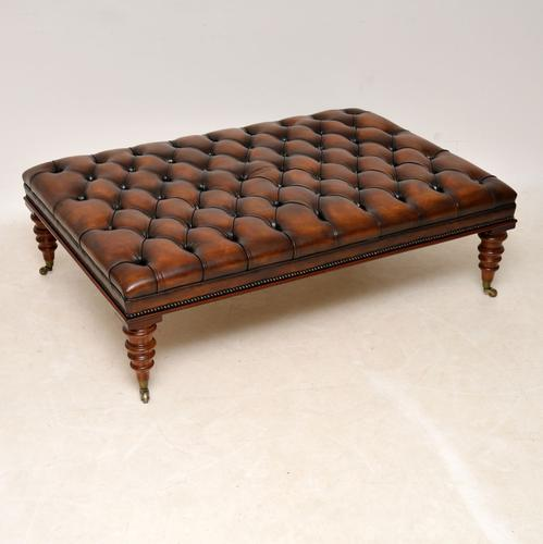 Large Antique Victorian Style Deep Buttoned Leather Stool / Coffee Table (1 of 9)