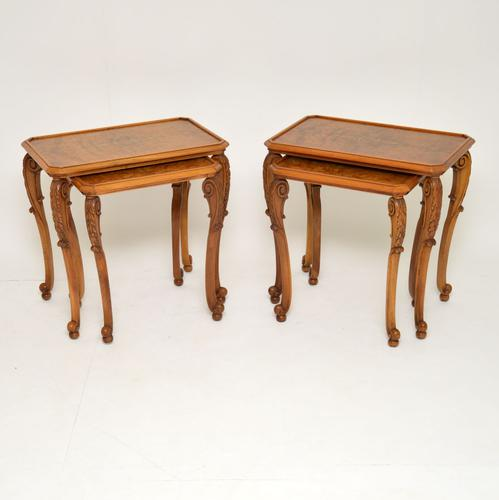 Pair of Antique Burr Walnut Nesting Side Tables (1 of 9)