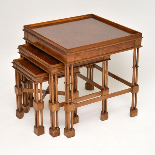 Chippendale Style Burr Walnut Nest of Tables (1 of 10)