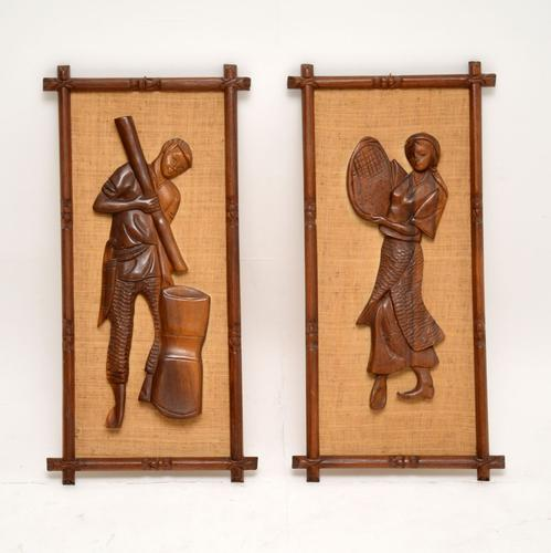 1960s Pair of Carved Walnut Decorative Reliefs Wall Art (1 of 11)