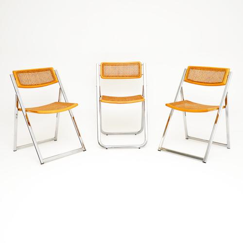 1970s Italian Chrome & Cane Folding Dining Chairs by Arben (1 of 11)