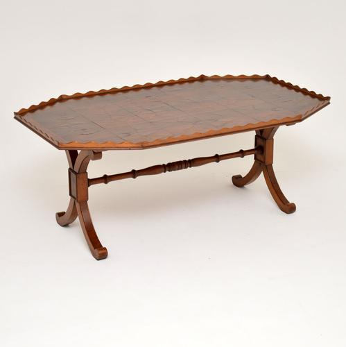 Antique Yew Wood Oyster Veneer Coffee Table (1 of 12)