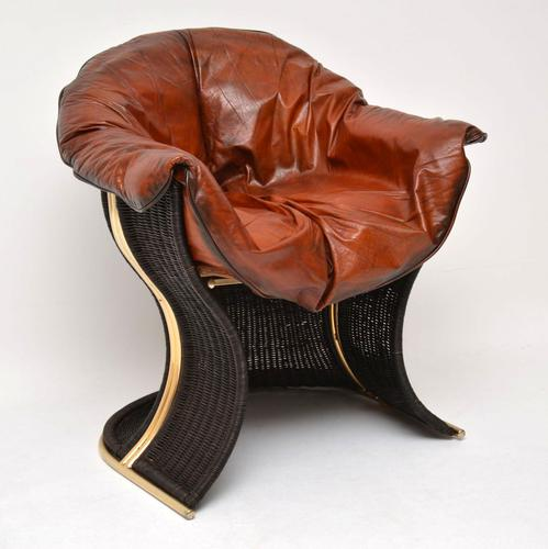 1970s Vintage Leather & Wicker 'Venus' Armchair by Pieff (1 of 10)