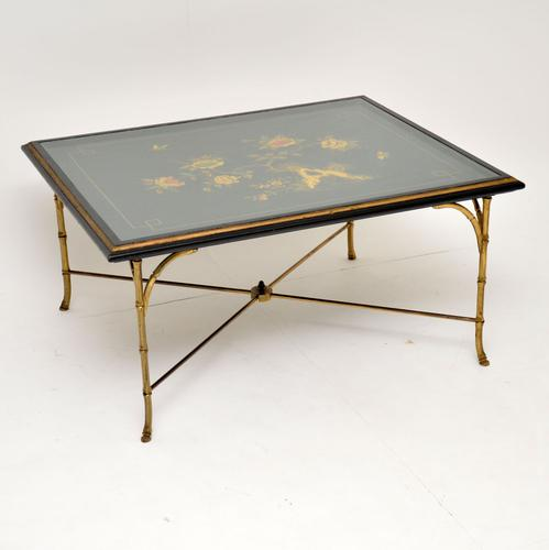 1970s Vintage Decorative Brass & Lacquered Chinoiserie Coffee Table (1 of 11)