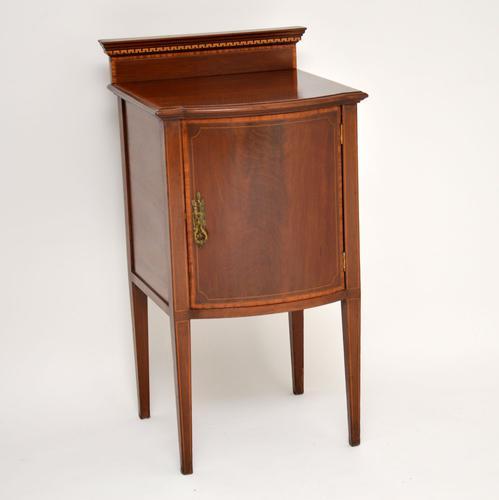 Antique Edwardian Inlaid Mahogany Bedside Cabinet (1 of 8)