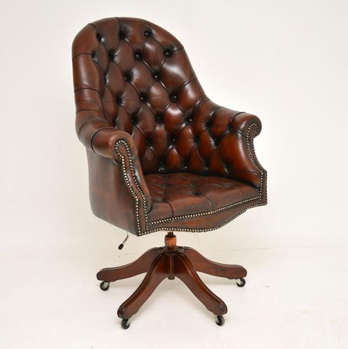 Georgian Style Leather Swivel Desk Chair c.1950 (1 of 9)