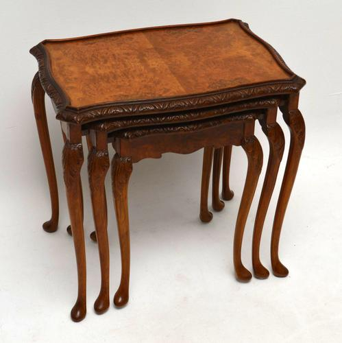 Queen Anne Style Burr Walnut Nest of Tables c.1930 (1 of 1)