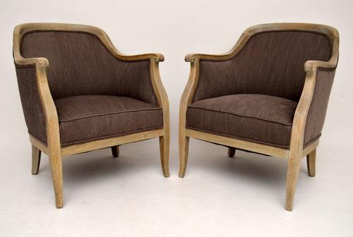 Pair of Antique Swedish Bleached Oak Upholstered Armchairs C.1910 (1 of 1)