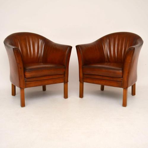 Pair of Swedish Leather Tub Armchairs & Stool (1 of 1)