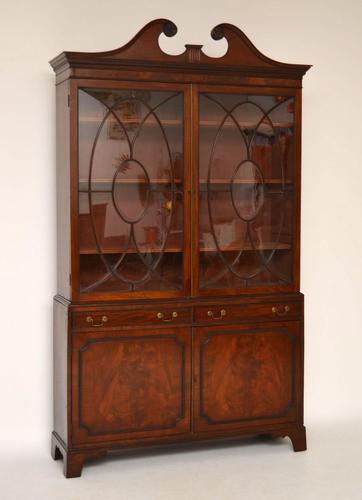 Large Impressive Antique Mahogany Glazed Bookcase on Cupboard (1 of 1)