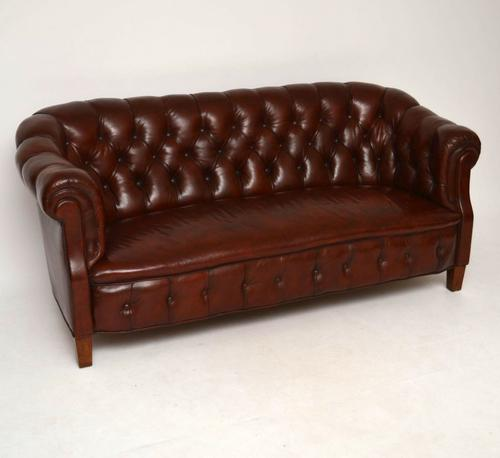 Antique Swedish Leather Chesterfield Sofa (1 of 1)