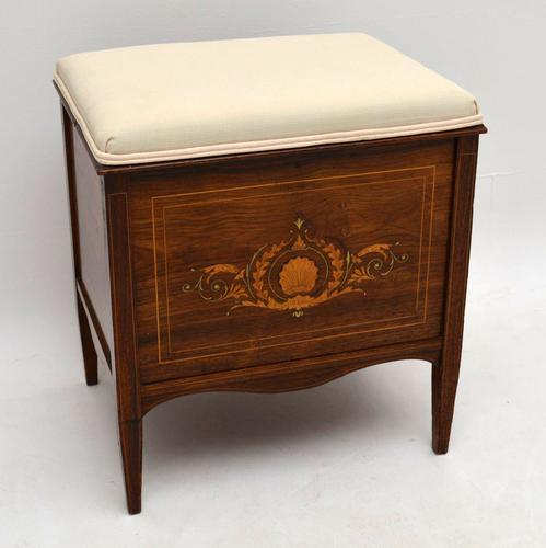 Antique Late Victorian Inlaid Rosewood Piano Stool c.1890 (1 of 1)