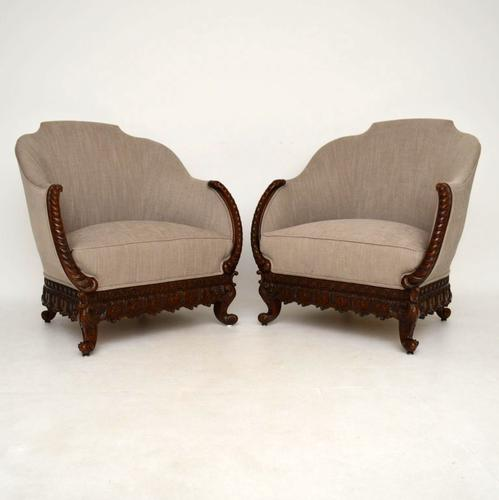 Pair of Antique Swedish Carved Mahogany Armchairs (1 of 1)