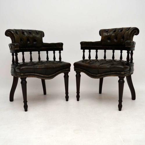 Pair of Distressed Leather & Mahogany Chairs c.1910 (1 of 1)