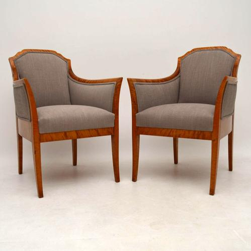 Pair of Antique Swedish Satin Birch Armchairs C.1890 (1 of 1)