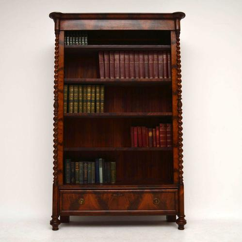 Antique Flame Mahogany Open Bookcase c.1840 (1 of 1)