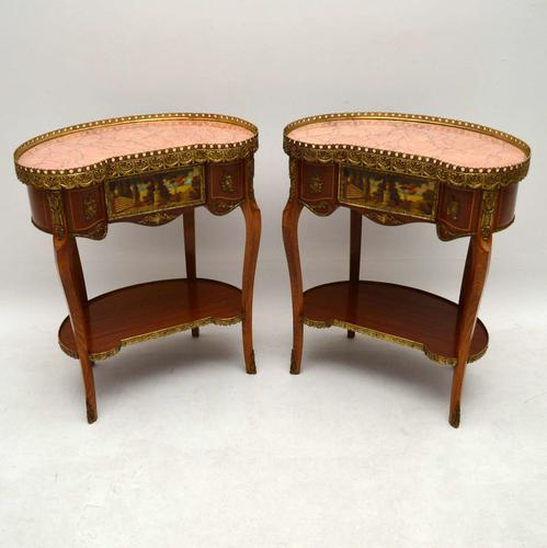 Pair of French Style Marble Top Side Tables (1 of 1)