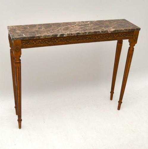 French Marble Top Giltwood Console Table c.1930 (1 of 1)