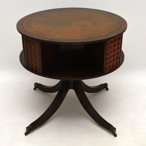 Mahogany & Leather Drum Table c.1920 (1 of 1)