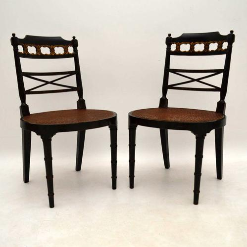 Pair of Antique Decorated Ebonised Side Chairs c.1890 (1 of 1)