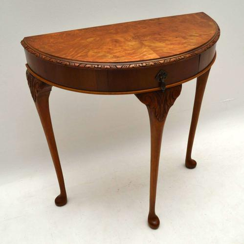 Queen Anne Style Burr Walnut Console Table c.1930 (1 of 1)