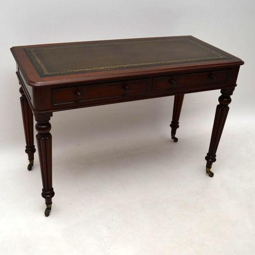 Antique Victorian Mahogany Leather Top Writing Table Desk (1 of 1)