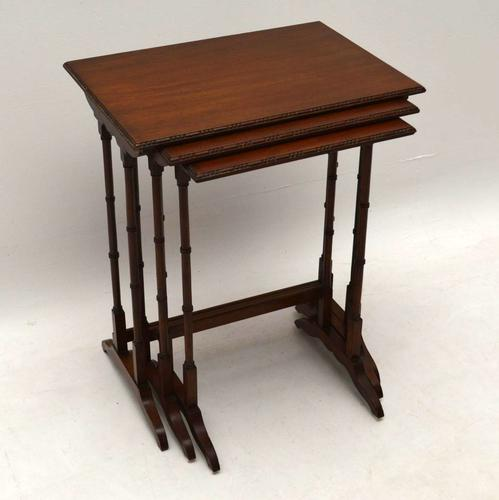 Antique Edwardian Mahogany Nest of Three Tables (1 of 1)