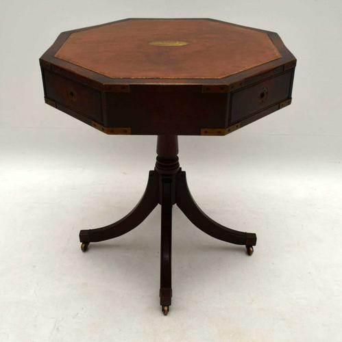 Antique Mahogany Leather Top Military Style Drum Table (1 of 1)