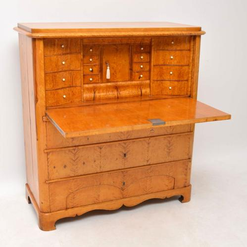 Antique Swedish Biedermeier Satin Birch Secretaire Chest c.1850 (1 of 1)