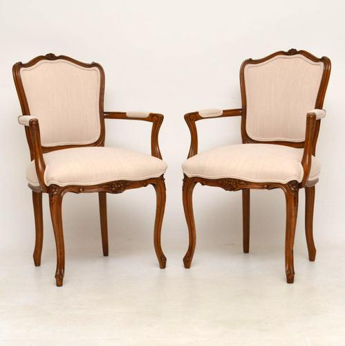 Pair of Antique French Walnut Salon Chairs (1 of 1)