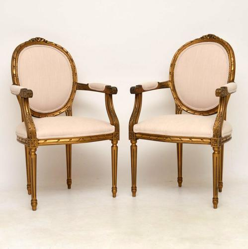 Pair of Antique French Giltwood Salon Chairs (1 of 1)