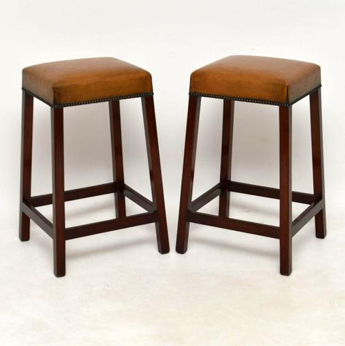Pair of Antique Leather & Mahogany Bar Stools (1 of 1)