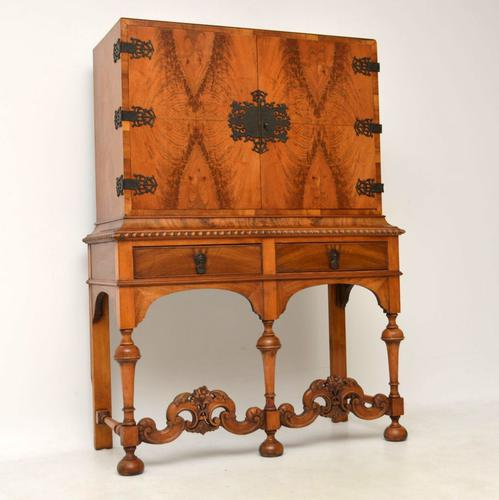 Antique Burr Walnut Carolean Style Cabinet On Stand (1 of 1)