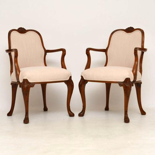 Pair of Antique Carved Walnut Upholstered Armchairs (1 of 1)