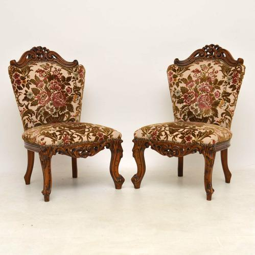 Pair of Antique French Carved Walnut Side Chairs (1 of 1)